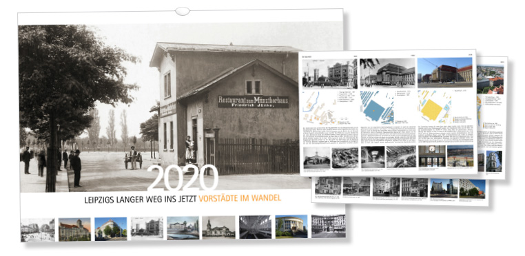Titelbild des Kalenders und Beispielrückseiten mit Detailinfos