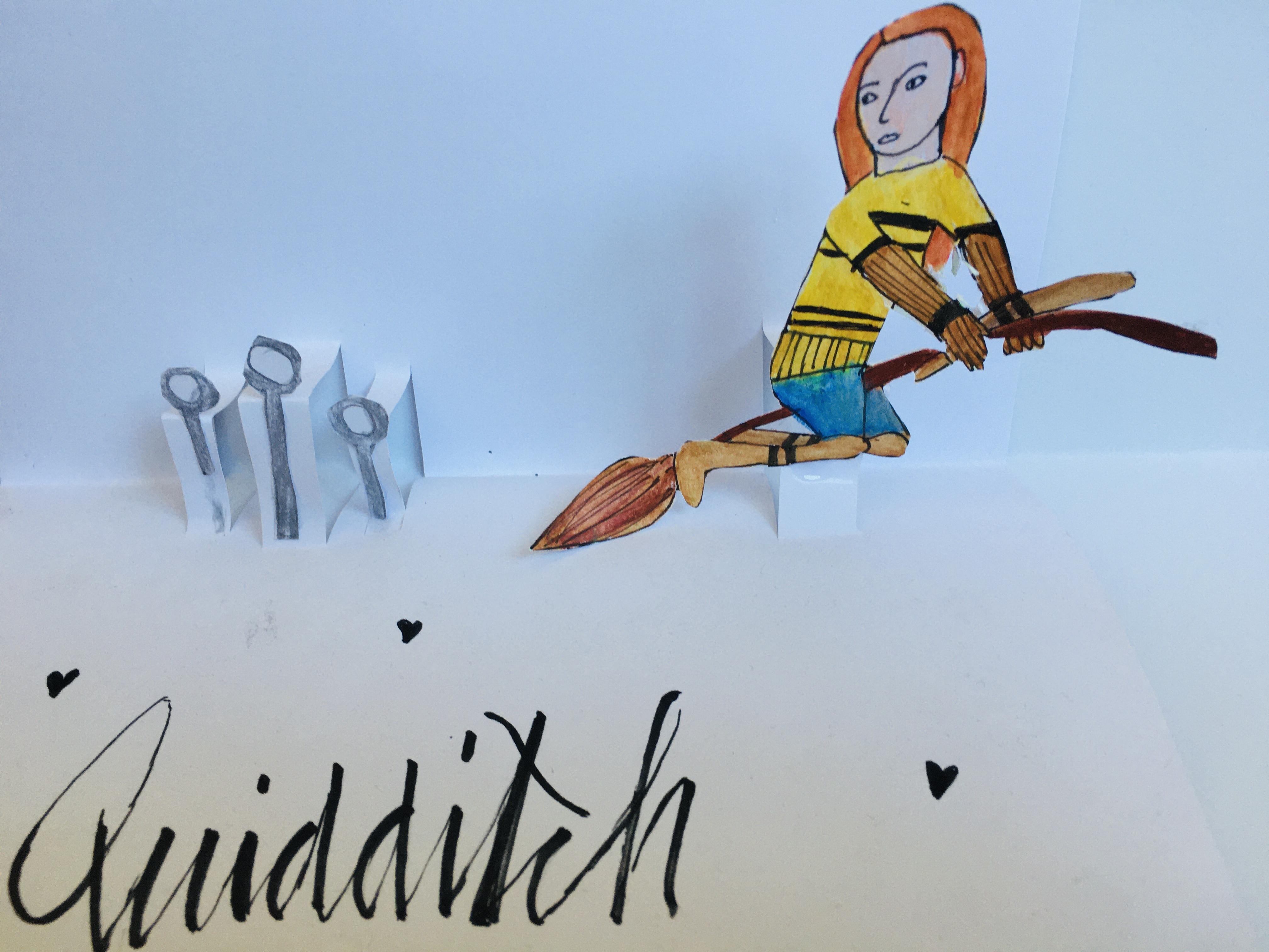 Mädchen auf dem fliegenden Besen beim Quidditch-Turnier