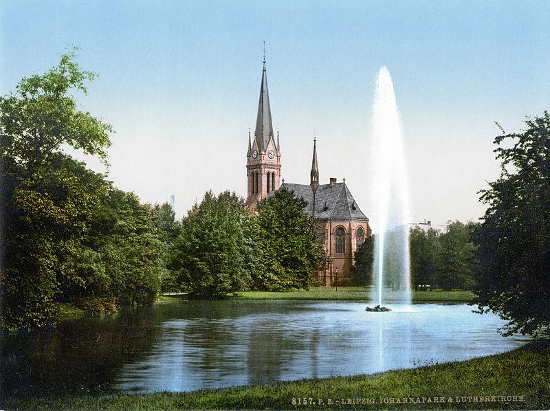 Historische Zeichnung Johannapark mit Teich, Fontäne und Lutherkirche