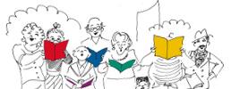 Zeichnung Bürgersänger vor Uniriesen  mit Liederheften