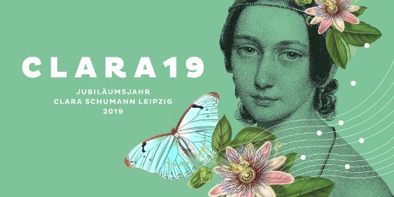 Bild von Clara Schuhmann nut Schnetterling, Blumen und Noten mit Jubiläumsschriftzug