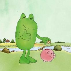 Penny-Frosch spendet eine Münze