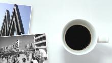 Bildcollage: Messe-M an der Alten Messe, Kaffeetasse und ein Neubaugebiet