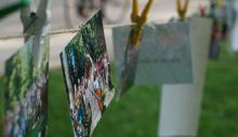Fotos vom Singejahr auf einer Wäscheleine