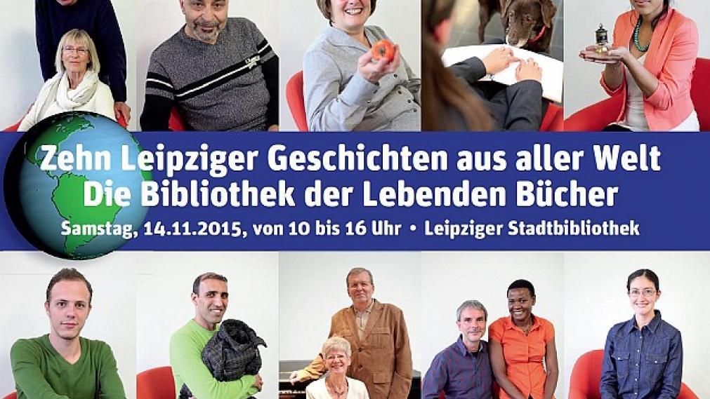 Postkarte mit Porträts der Beteiligten Lebenden Bücher aus dem Jahr 2015