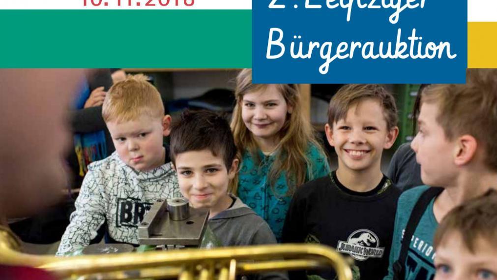 Logo der Bürgerauktion mit Kindern beim Instrumentenbauer