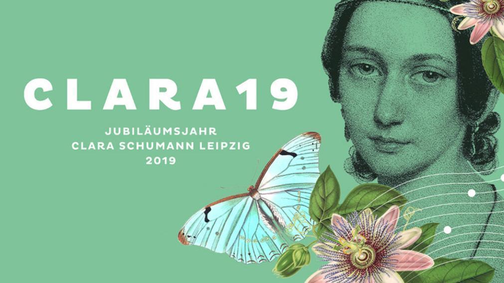 Signet Clara Schuman Jahr mit Portrait der Künstlerin, Blumen und Schmetterling