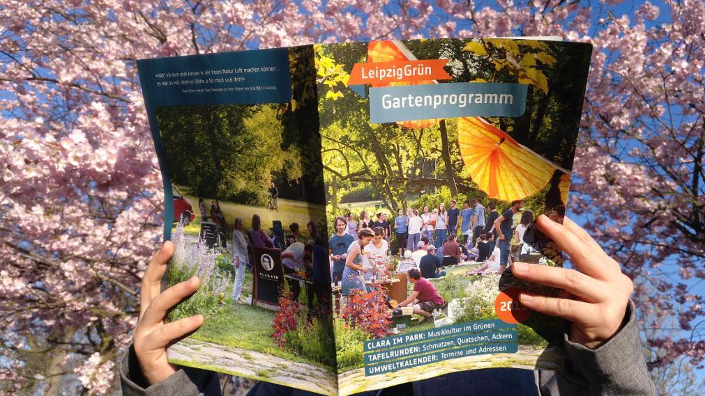 Beim Lesen des Gartenprogramms vor einem blühenden Kirschbaum
