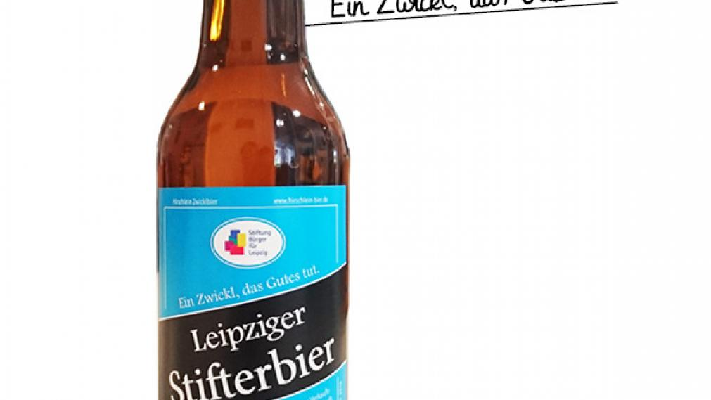 """Flasche Bier mit Etikett """"Leipziger Stifterbier"""""""