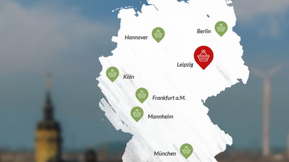 Deutschlandkarte mit Korbsymbolen in den teilnehmenden Städten