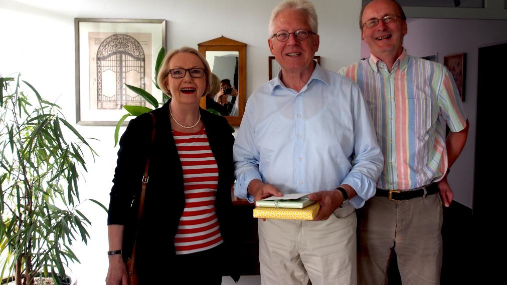 Katrin Hart, Leo Artmann, Dr. Dietmar Röhl - Gratulation zum Siebzigsten für Leo Artmann