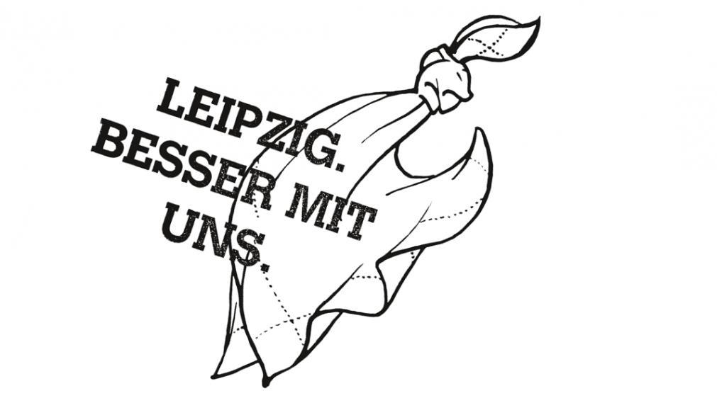 Taschentuch mit Knoten und Motto Leipzig besser mit uns