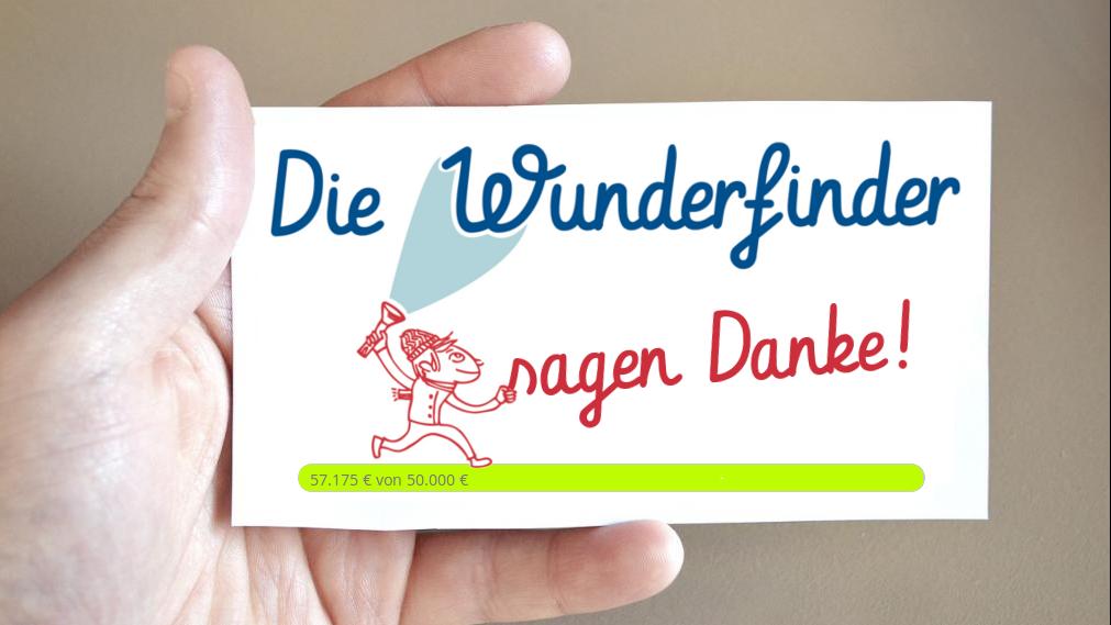 Zettel mit Spendenstand und Aufschrift Die Wunderfinder sagen Danke