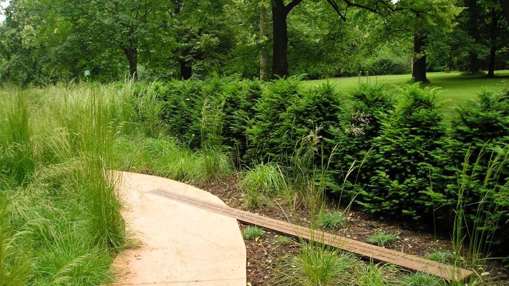 Weg mit Büschen im Friedenspark
